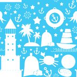 Seamless pattern. white sea icon on blue background. vector Stock Photography