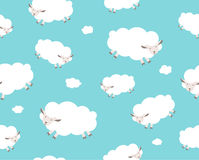Seamless pattern. White sheep and cloud on the Stock Images