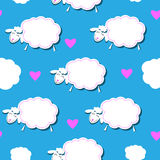 Seamless pattern with white sheep and clouds Royalty Free Stock Image