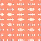 Seamless pattern with white silhouette of fish bones on pink background. vector illustration