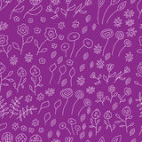 Seamless pattern of white sketches of flowers. With branches on a purple background, vector illustration royalty free illustration