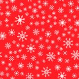 Seamless pattern. White snowflakes on a red backgrounds. For packaging paper vector illustration