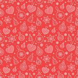 Seamless pattern with white snowflakes and toy balls on red background. Flat line pine tree decoration icons, cute. Repeat wallpaper. Nice element for christmas royalty free illustration