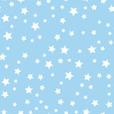 Seamless pattern with white stars on blue background. Vector illustration. Stock Images
