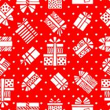 Seamless pattern of white stylized gift boxes and dots on a red vector illustration