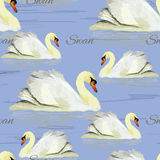 Seamless pattern with white swan on blue background, water. Wate Stock Images