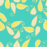 Seamless Pattern with White and Yellow Leaves Stock Images
