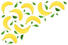 Seamless pattern from whole bananas with leaves isolated on white background with copy space for your text. Top view. Seamless pattern from whole bananas Stock Images