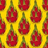 Seamless Pattern with Dragon Fruit or Pitaya. Seamless Pattern with Whole Dragon Fruit or Pitaya on a Yellow Background Royalty Free Stock Photos