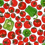 Seamless Pattern with Whole Tomato, Green Bell Pepper, Half of Pepper and Cherry Tomatoes. Fresh Ripe Vegetables Background. Vegan. Cuisine. Hand Drawn Vector stock illustration