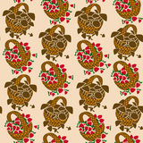 Seamless pattern of wicker backets Stock Photos
