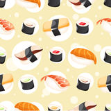 Seamless Pattern wihh different sushi. On yellow background Royalty Free Stock Photos