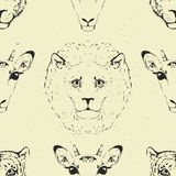 Seamless Pattern of a Wild Animal heads. Stock Photos