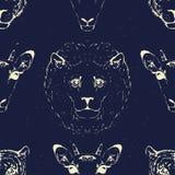 Seamless Pattern of a Wild Animal heads. Seamless Pattern of Wild Animal heads for printing onto fabric. Vector illustration Stock Photos