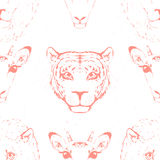 Seamless Pattern of a Wild Animal heads. Royalty Free Stock Images