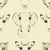 Seamless Pattern of a Wild Animal heads. Royalty Free Stock Photo