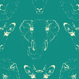 Seamless Pattern of a Wild Animal heads. Stock Images