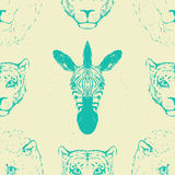 Seamless Pattern of a Wild Animal heads. Stock Photography
