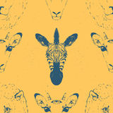 Seamless Pattern of a Wild Animal heads. Royalty Free Stock Photography
