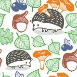 Seamless pattern with wild animals in the forest. Stock Image