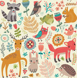 Seamless pattern. Wild animals set. Wild animals set Seamless pattern Stock Image