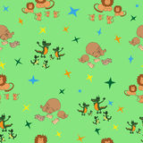 Seamless pattern wild animals and their babies. Seamless pattern wild animals and groups of their babies. Vector illustration Stock Images