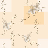 Seamless pattern of wild beige flowers and branches on a light beige background with geometric figures. Watercolor. Spring flowers of can be used textiles Royalty Free Stock Photo
