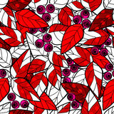 Seamless pattern wild berries branch leaves retro background Stock Photos