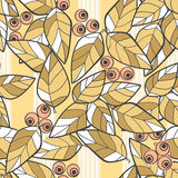 Seamless pattern wild berries branch leaves retro texture Royalty Free Stock Images