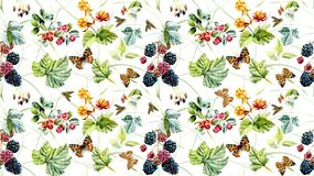 Seamless pattern with wild berries and insects. Hand painted watercolor illustration. vector illustration