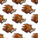 Seamless pattern of wild boars with tusks Royalty Free Stock Image
