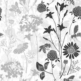 Seamless pattern with wild flowers and bees. Vector illustration with summer meadow. Monochrome version.