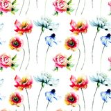 Seamless pattern with wild flowers. Hand drawn floral elements for design Royalty Free Stock Photo