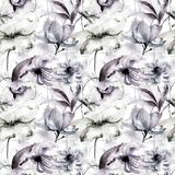 Seamless pattern with wild flowers. Watercolor illustration Stock Photo