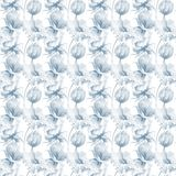 Seamless pattern with wild flowers. Watercolor illustration Stock Images