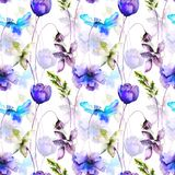 Seamless pattern with wild flowers. Watercolor illustration Royalty Free Stock Photos