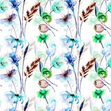 Seamless pattern with wild flowers. Watercolor illustration Stock Image