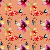 Seamless pattern with Wild flowers vector illustration