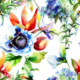 Seamless pattern with wild flowers Stock Photo