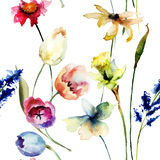 Seamless pattern with wild flowers. Watercolor illustration Royalty Free Stock Images