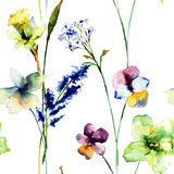 Seamless pattern with wild flowers Stock Photos