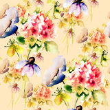 Seamless pattern with wild flowers Royalty Free Stock Photo