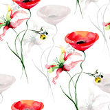 Seamless pattern with wild flowers. Watercolor painting Stock Photos