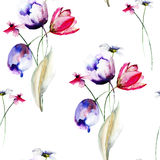 Seamless pattern with wild flowers Royalty Free Stock Photography