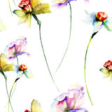 Seamless pattern with wild flowers. Watercolour illustration Stock Images
