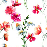 Seamless pattern with wild flowers Royalty Free Stock Image