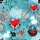 Seamless pattern with wild fox in eyeglasses. stock illustration