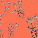 Seamless pattern wild gray flowers on the red background. Watercolor. Royalty Free Stock Images