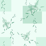 Seamless pattern of wild green flowers and branches on a green background with geometric figures. Watercolor. Spring flowers of can be used textiles, wallpaper Stock Image