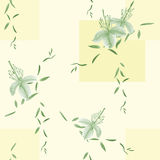 Seamless pattern of wild green flowers and branches on a light yellow background with geometric figures. Watercolor. Spring flowers of can be used textiles stock illustration